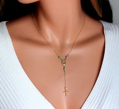 Rosary Necklaces Gold Filled or Sterling Silver Turquoise Gemstones Cross 14kt Goldfiiled Rosaries