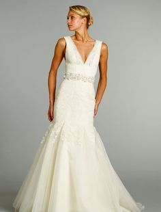 Jim Hjelm Mermaid Wedding Dress with V-Neck Neckline and Natural Waist Waistline.  Love everything about this dress!  If only I could afford to shop at Kleinfeld's...