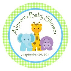 Jungle Animals Favor Tags or Stickers/ Zoo by traditionsbydonna, $8.00