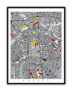 Nagoya japan maps pinterest nagoya nagoya map art nagoya japan wall art print by mondrianmapart gumiabroncs Images
