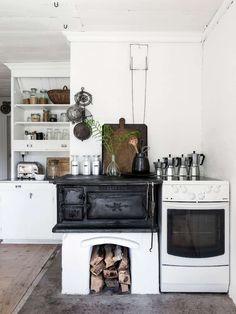 Vem drömmer inte om att få ha en vacker vedspis i sitt lantkök? Här är fem härliga inspirationsbilder!