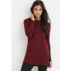 Forever 21 Forever 21 Women's  Side-Slit Sweater Tunic ($23) ❤ liked on Polyvore featuring tops, tunics, red tunic, forever 21 tops, red top, red long sleeve top e side slit tunic