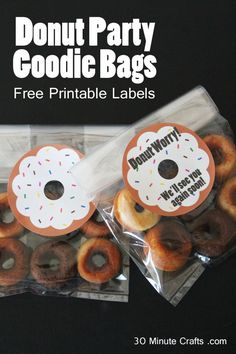 Donut Party Goodie Bags with Free Printable Labels (Minutes Template Free Printable) Office Themed Party, Breast Cancer Party, Leaving Party, Bon Voyage Party, Goodbye Party, Goodie Bags For Kids, Going Away Parties, Barbie Birthday, Donut Party
