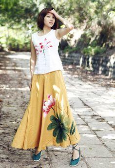 Women's Yellow Skirt Hand Painted Flower Long Skirt by MissLinen
