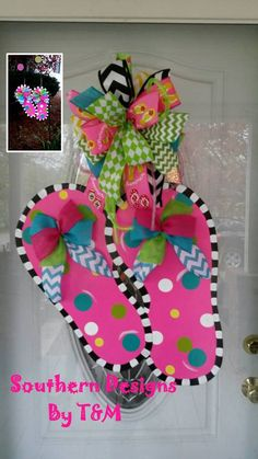 Flip Flop Door Hanger and matching Garden by SouthernDesignsByTM, $25.00
