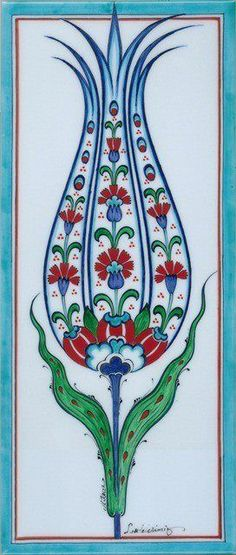 Turkish Tulip Tile Source by morissseau Turkish Design, Turkish Art, Turkish Tiles, Portuguese Tiles, Islamic Tiles, Islamic Art, Illustrator, Tile Art, Wall Tiles