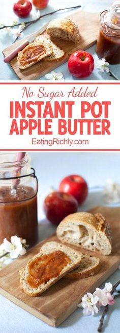Sugar Free Apple Butter Recipe in the Instant Pot - Eating Richly This healthy apple butter has no a Apple Butter Recipe No Sugar, Pear Butter, Homemade Apple Butter, Sugar Free Apple Recipes, Pressure Cooker Apple Butter Recipe, Pressure Cooking Recipes, Kool Aid, Paleo Dessert, Dessert Recipes