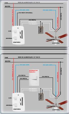 COMO LIGAR UM VENTILADOR DE TETO? OLÁ ! Este poste vai ser bem curtinho e prático, vou estar ensinando como ligar um ventilador de teto, geralmente todos o Basic Electrical Wiring, Electrical Circuit Diagram, Electrical Plan, Electrical Projects, Electrical Engineering, Cctv Camera Installation, Electrical Installation, Electronics Basics, Electronics Projects