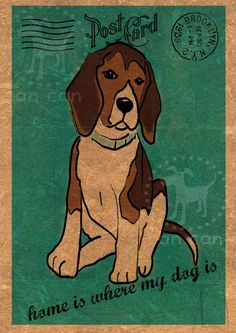 ilustración can can , post card , cute dog http://cancan4dogs.blogspot.com.es/