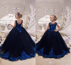 c9161ee730 2019 Latest Flower Girl Dresses Dark Navy Toddler Pageant Gowns with Royal  Blue Appliques Long Kids Formal Birthday Party Dress Long