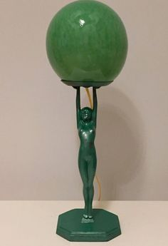 Art Deco Nude Lady Lamp with Glass Globe #ArtDeco