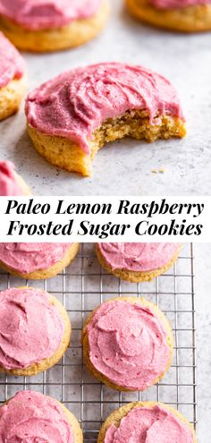 You won't believe how deliciously dreamy these lemon sugar cookies are! Soft and slightly chewy paleo sugar cookies with the perfect amount of lemon flavor are topped with an easy pink raspberry frosting for an extra special treat that everyone will love. No one would ever guess these cookies are gluten free, dairy free and refined sugar free! #paleo #cleaneating #glutenfree #paleobaking #paleodessert #paleocookies #sugarcookies Paleo Sweets, Paleo Dessert, Gluten Free Desserts, Healthy Desserts, Dessert Recipes, Paleo Baking, Gluten Free Baking, Raspberry Frosting, Freeze Dried Raspberries