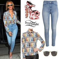 Beyoncé was spotted arriving at La Esquina wearing an Alice + Olivia Willa Printed Button-Down Blouse ($275.00), H&M Super Skinny High Jegging ($19.99), the Dior So Electric 58MM Square Sunglasses ($505.00) and a pair of Brian Atwood White Donald Robertson Edition Karin Sandals ($548.00).