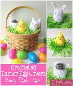 DIY Crocheted Easter Egg Covers tutorial || Free crochet patterns for Bunny, Chick, and sheep. #Easter #crafts