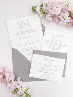 Simple Monogram Letterpress Wedding Invitations Modern Grey