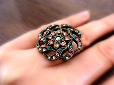 Adjustable Ring with Crystals Swarovski by OlgaeFIMOva on Etsy, $28.00