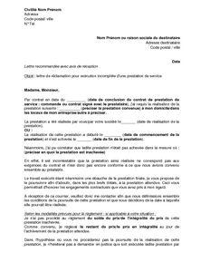 Lettre De Reclamation Pour Execution Incomplete D Une Prestation Et