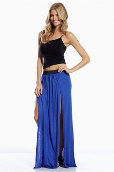 Super chic and stoning Elan skirt made out of confy and fresh materials. This skirt will help you look chic and fresh on does summer hot dates.Maxi Skirt Front Slit and Elastic waistbandMaterials: 100% Rayon WASH BY HAND, NO DRYERMADE IN USA