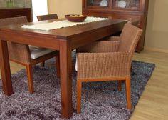 Mesa de comedor rectangular y extensible BASIC 1, de madera de teca y tapa deslizante. Estilo colonial, de Bambó Blau.