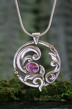 Blooming Desire, Tourmaline Gold and Silver Pendant