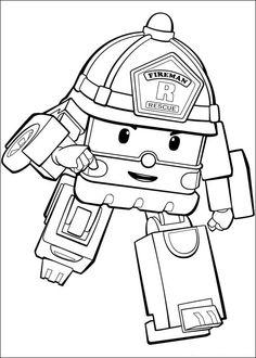 Robocar Poly Fargelegging for barn. Tegninger for utskrift og fargelegging nº 3