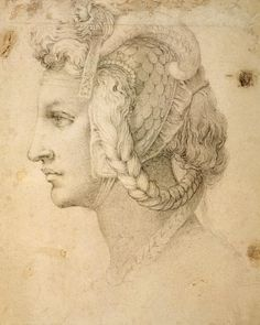 Ideal head of a woman by Michelangelo, drawing in black chalk about Now in The British Museum in London England. Find a Michelangelo fine art print. Italian Renaissance Art, Renaissance Kunst, High Renaissance, Chalk Drawings, Art Drawings, Figure Drawing, Painting & Drawing, Art Ninja, Academic Drawing