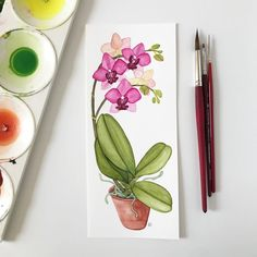 Pink Orchid Watercolor Painting by Anne Butera of My Giant Strawberry Watercolor Bookmarks, Watercolor Projects, Watercolour Tutorials, Watercolor Cards, Watercolour Painting, Painting & Drawing, Watercolours, Watercolor Orchid Tattoo, Orchid Drawing