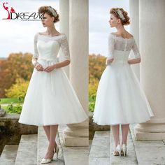 Find More Wedding Dresses Information about Vintage Short Beach Wedding Dresses 2016 vestido Elegant Bateau Neck Half Sleeve Lace Bride Dress Plus Size Cheap Bridal Gown,High Quality dress snow,China dresses for men to wear Suppliers, Cheap dress double from Orenda Wedding Dress Factory on Aliexpress.com