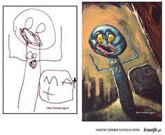 Rysunki dzieci przerysowane przez artystę