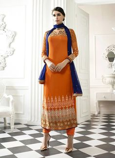 Straight Cut Style Lovely Pant Suit in Orange Color & Georgette Fabric The lovely Lace & Butta Work a substantial attribute of this attire. Buy Online Exclusive Designer Pant Suit, Party Wear, Wedding Wear, Pantsuit, dress material, Ceremonial Wear, Pantsuits, Indian Suit, Suits, Shuits For women. We have large range of Designer Pant suit designs Online in our website with the best pricing and unique designs shipping to World Wide.
