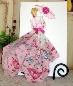 1945 Mollie Parnis Day Dress Keepsake Hanky Card by onceuponahanky