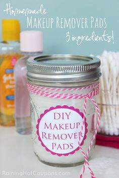 DIY Makeup Remover Pads. Did you know it's actually super easy to make your own make-up remover pads right from home? Plus, you know what's in them..... Click on the picture to visit the site for instructions on this DIY!