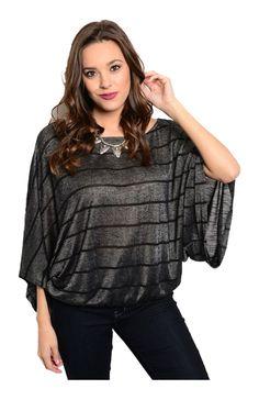 Striped 3/4 Kimono Sleeve Top