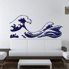 "Kanagawa Wave Wall Decal  - Hokusai - Vinyl  Sticker  - ( 46""). $49.00, via Etsy."