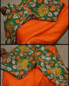 TS-SR-383 Available Orange Chiffon Saree with a hand painted Kalamkari blouse ... For orders/queries Call/ what's app us on 8341382382 Mail us tejasarees@yahoo.com #LikeNeverBefore #Tejasarees #Newdesigns #sarees #tejupavuluri #hyd #tejaethnicstudio #sareelove #workblouse #kalamakari #designer Stay Amazed!! Team Teja!! Saree Blouse Neck Designs, Fancy Blouse Designs, Bridal Blouse Designs, Kurta Designs, Blouse Patterns, Kalamkari Blouse Designs, Kalamkari Dresses, Kalamkari Saree, Lehenga Saree Design