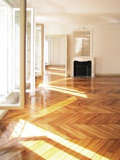 My perfect apartment - Herringbone wood floors, French doors and lots of light