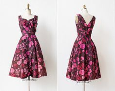 vintage 1950s party dress / 50s pink floral dress / Frolic Petunia Dress