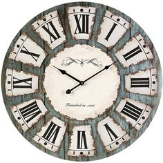Distressed wall clock with Roman numerals.Product: Wall clock  Construction Material: MDF and metal   Color: Gray  Features:   Modem clock offers some traditional design features   Clock is perfect anywhere from industrial d�cor to shabby elegant     Dimensions: 23.75 Diameter