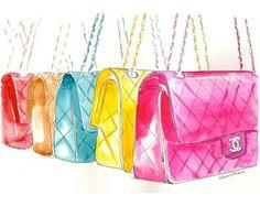 Colorful Chanel Flap Handbags - Watercolor Fashion illustration