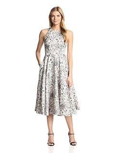 Cynthia Rowley Women's Stardust Print Jacquard Midi Dress (Ivory/Multi)