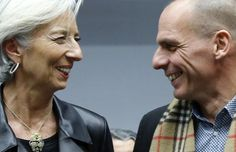 International Monetary Fund (IMF) Managing Director Christine Lagarde (L) poses with Greek Finance Minister Yanis Varoufakis during an extraordinary euro zone finance ministers meeting to discuss Athens' plans to reverse austerity measures agreed as part of its bailout, in Brussels February 11, 2015. REUTERS-Francois Lenoir