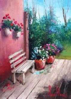 2086 - Картина ©2013 - Silvana Oliveira -            banco com gerânios, óleo sobre tela, silvana Oliveira www.silvanaoliveira.art.br