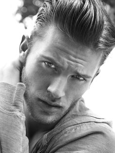 Men's Hair, Tapered Sides Pomaded Long Top Layers.