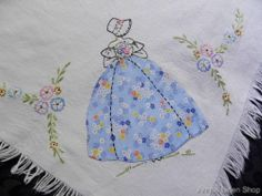 Vintage Linen Tablecloth Hand Embroidered Crinoline Ladies with Applique #Linens
