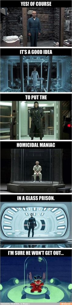Glass Prisons - Silence of the Lambs, X2, Avengers, Skyfall, Star Trek Into Darkness, Lilo & Stitch Movie Logic, Funny Quotes, Funny Memes, That's Hilarious, Bizarre, Fandoms Unite, Just For Laughs, Laugh Out Loud, The Funny