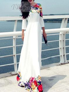 White 3/4 Sleeve Print Women's Maxi Dress(Plus Size Available)