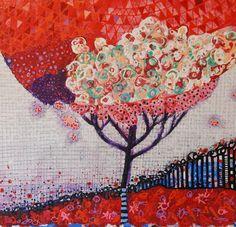 Rhapsody In Red Acrylic on wood board by Daniel Blignaut