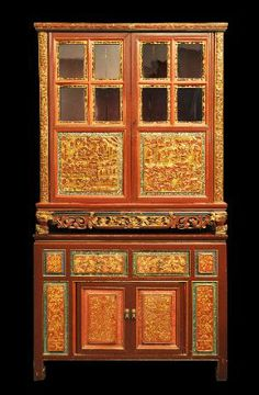 Red & Gold Wedding Cabinet Straits Chinese circa 1900  height: 117cm, length: 105cm, depth: 46.5cm  This item is the top tier of a 'red and ...