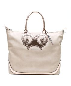 Beige Tiny Stud Swirl Leather Tote by Versace Jeans Collection #zulily #zulilyfinds