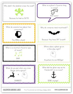 Free Halloween Lunchbox Notes V. 2 from Allison Waken
